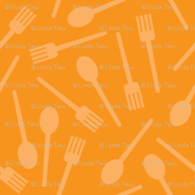 Spoons and Forks on Orange