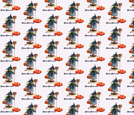 Little Halloween Witch fabric by karenharveycox on Spoonflower - custom fabric