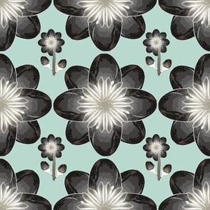 Flower-spoon-tea (Black on Spooflower turquoise)