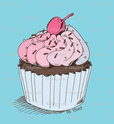 Sweet Retro Cupcake Blue