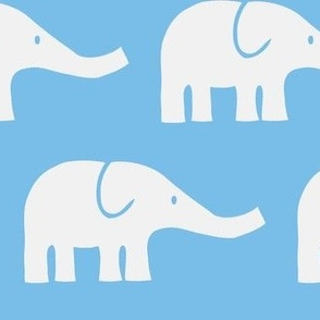 LARGE Elephants in blue