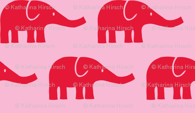 LARGE Elephants in pink and red
