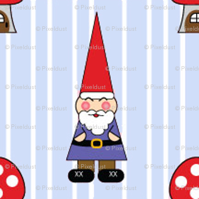 Gnomes on Blue Pinstripe