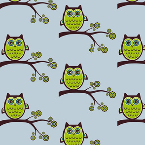 retro owl blue