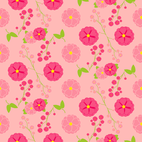 Rose Wars - Strawberry Pink fabric by inscribed_here on Spoonflower - custom fabric