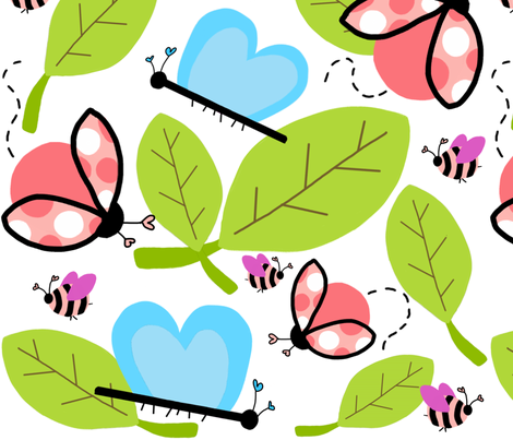 buzzzzing bugs (revised) fabric by emilyb123 on Spoonflower - custom fabric