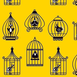 vintage yellow birdcages