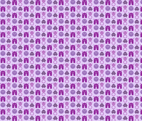 Monsters In A Row - Purple fabric by jesseesuem on Spoonflower - custom fabric
