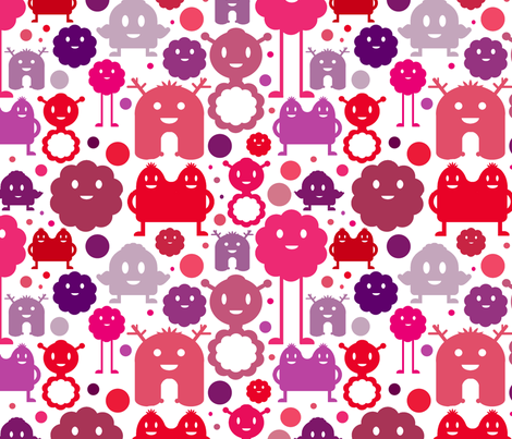 Monsters On the Loose - Girl (white background) fabric by jesseesuem on Spoonflower - custom fabric