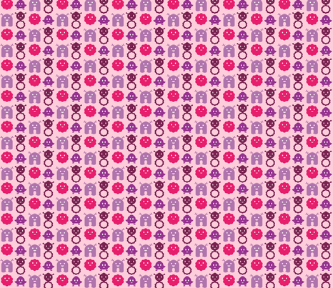 Monsters In A Row - Girl fabric by jesseesuem on Spoonflower - custom fabric