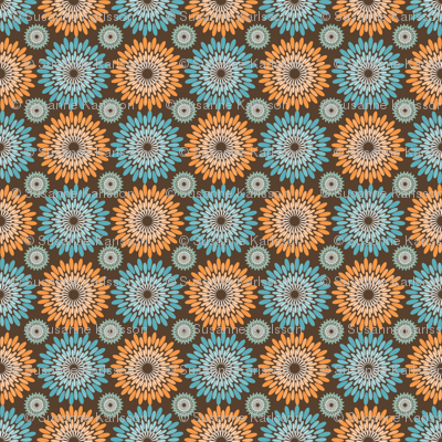orange blue flowers fabric suziedesign spoonflower. Black Bedroom Furniture Sets. Home Design Ideas