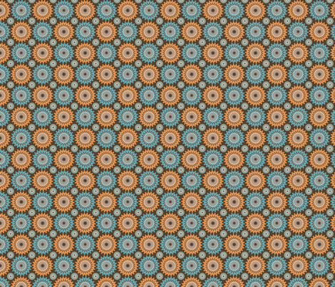 orange blue flowers fabric by suziedesign on Spoonflower - custom fabric