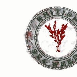 Vintage Printable British Sea Weed Emblem (gray and red)