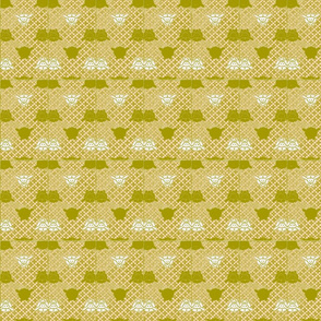 Vintage Printable Japanese Textile with Bunnies  (Pink and olive)