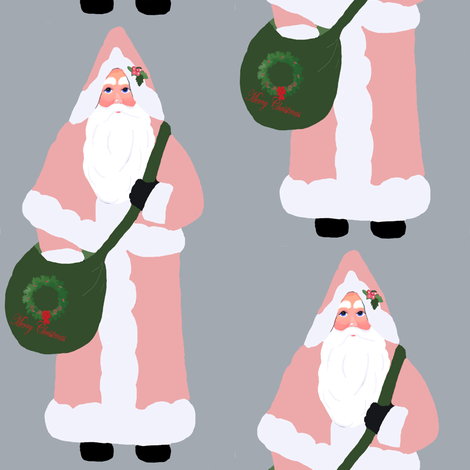 Santa Pink fabric by karenharveycox on Spoonflower - custom fabric