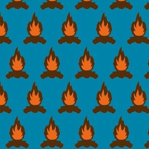 Campfire with blue background