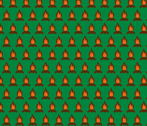 Campfire with green background fabric by ridivog on Spoonflower - custom fabric