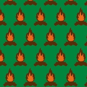 Campfire with green background