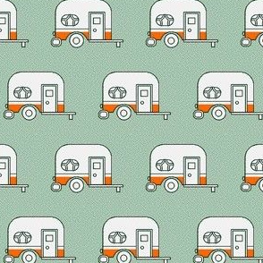 Camper with green background