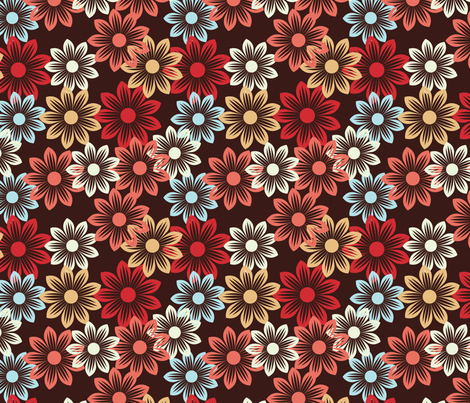flower pattern on dark background fabric by suziedesign on Spoonflower - custom fabric