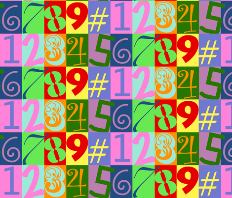 Funky Number Fabric fabric by amy_lou_who on Spoonflower - custom fabric