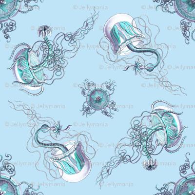 Jellyfish on blue