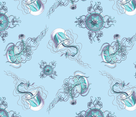 Jellyfish on blue fabric by jellymania on Spoonflower - custom fabric