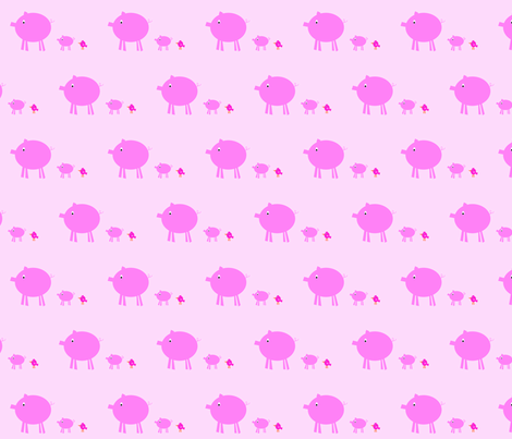 3_pigs_-_2_-_pink_background_copy fabric by petunias on Spoonflower - custom fabric