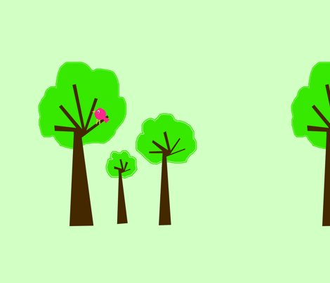 3_trees_-2_-_greenish_background_-_with_red_bird_copy_shop_preview