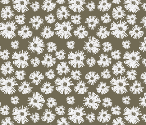 Paper Daisy - Coffee fabric by kristopherk on Spoonflower - custom fabric