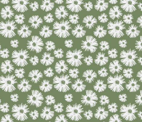 Paper Daisy - Olive Green fabric by kristopherk on Spoonflower - custom fabric