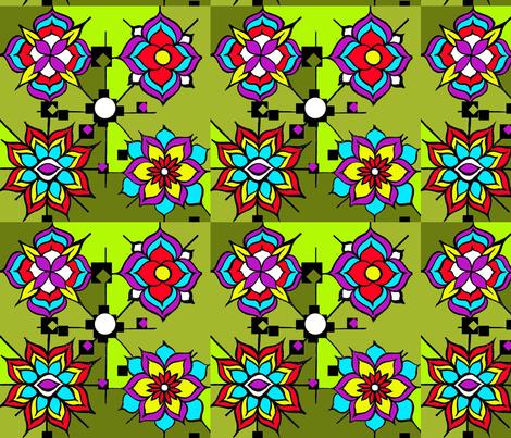 lotus_flower_pattern_three fabric by heatherpeterman on Spoonflower - custom fabric
