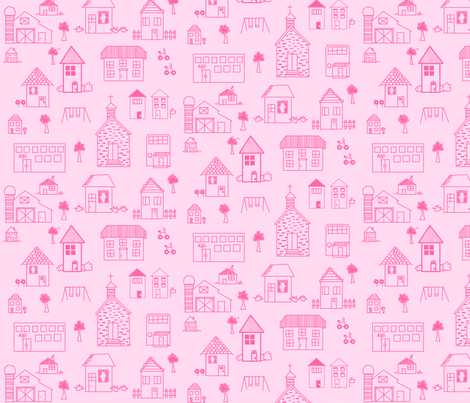 little_pink_houses_for_you_and_me_-_final_-_8_in fabric by petunias on Spoonflower - custom fabric