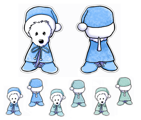 Winter Westie Doll Panels fabric by kiniart on Spoonflower - custom fabric