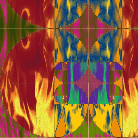 Flaming Fibonacci fabric by elephant_booty_studio on Spoonflower - custom fabric