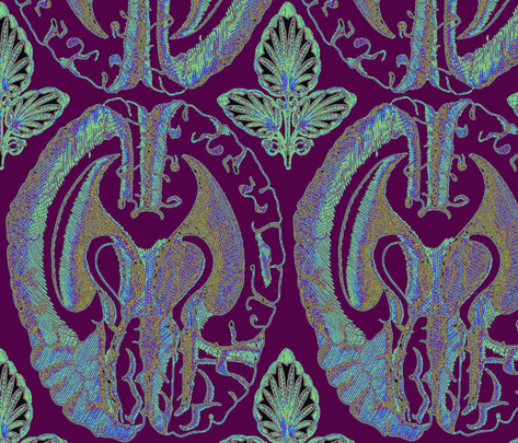 brain_tile_large-color-cool fabric by elephant_booty_studio on Spoonflower - custom fabric