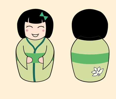 "14""/ 35cm Kawaii Kokeshi Dolls fabric by gila_be on Spoonflower - custom fabric"