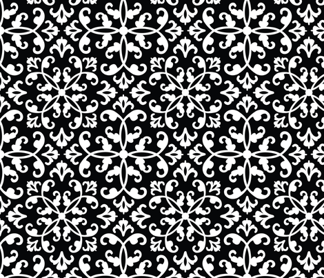 Contessa Damask - Black fabric by pixeldust on Spoonflower - custom fabric