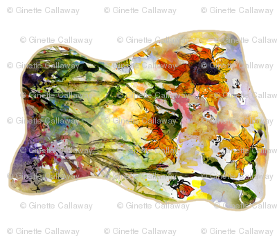 Sunflower and Bees Watercolor Painting by Ginette