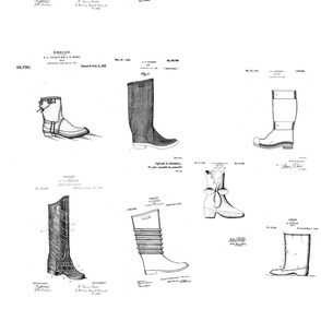 Vintage Printable Boots Design Patent Pattern (Black and white)