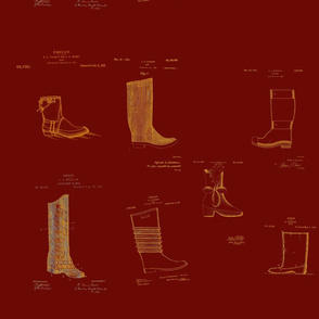 Vintage Printable Boots Design Patent Pattern (Red and yellow)