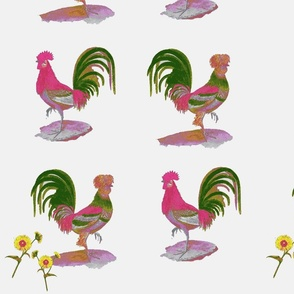 Vintage Printable Country French Roosters (Pink + Green)
