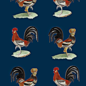 Vintage Printable Country French Roosters (Night time)