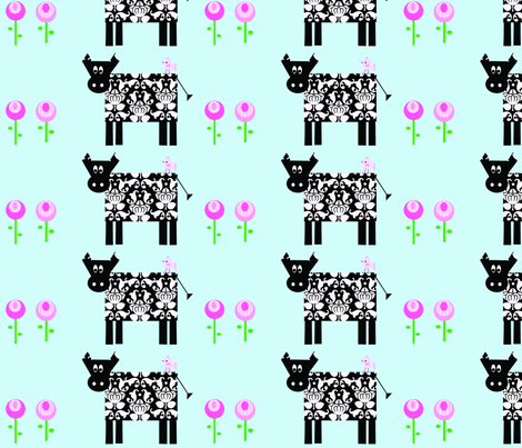 damask_cow_and_flower_copy fabric by petunias on Spoonflower - custom fabric