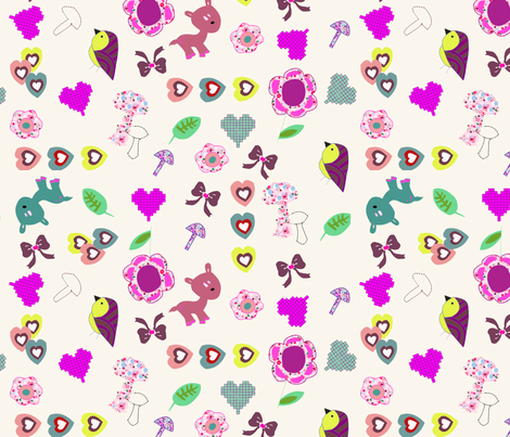 Kitch animal and bow print  fabric by rocking_horse_prints_ on Spoonflower - custom fabric