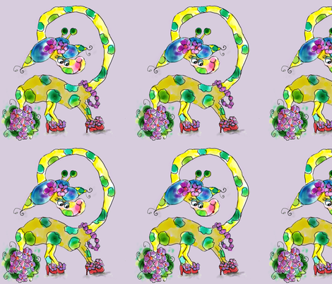 Gracie Giraffe Blanket Top Lavendar  fabric by rosannahope on Spoonflower - custom fabric