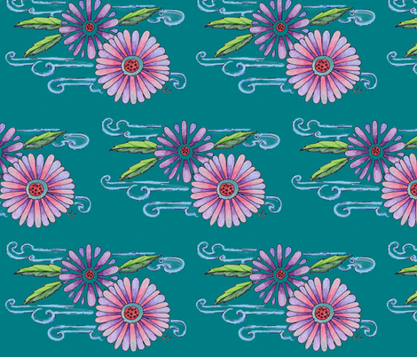 Koi Flowers Teal fabric by cary_dingel on Spoonflower - custom fabric