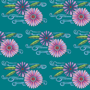 Koi Flowers Teal