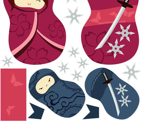 Ninja Beans Panel fabric by mochistudios on Spoonflower - custom fabric
