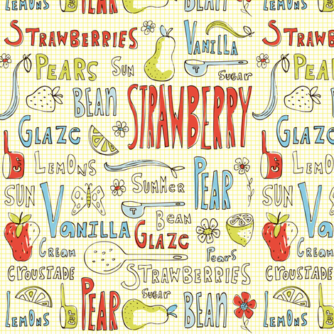 Summer Sweets - Vintage Fruit Typography fabric by heatherdutton on Spoonflower - custom fabric